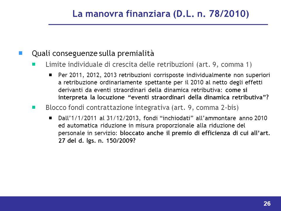 La manovra finanziara (D.L. n. 78/2010)