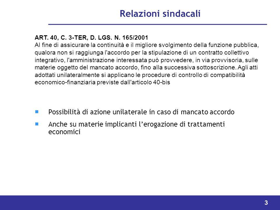 Relazioni sindacali ART. 40, C. 3-TER, D. LGS. N. 165/2001.