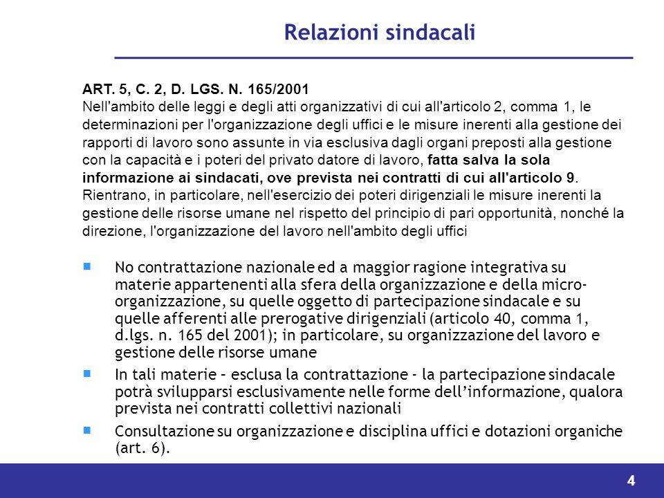 Relazioni sindacali ART. 5, C. 2, D. LGS. N. 165/2001.