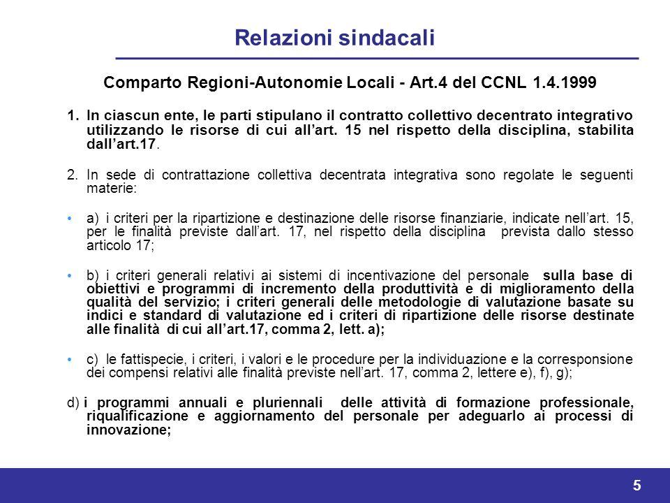 Comparto Regioni-Autonomie Locali - Art.4 del CCNL 1.4.1999