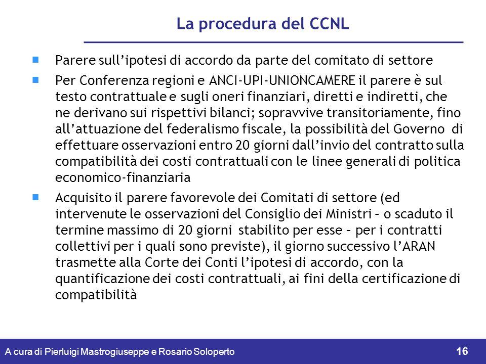 La procedura del CCNL Parere sull'ipotesi di accordo da parte del comitato di settore.