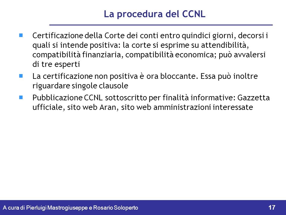 La procedura del CCNL