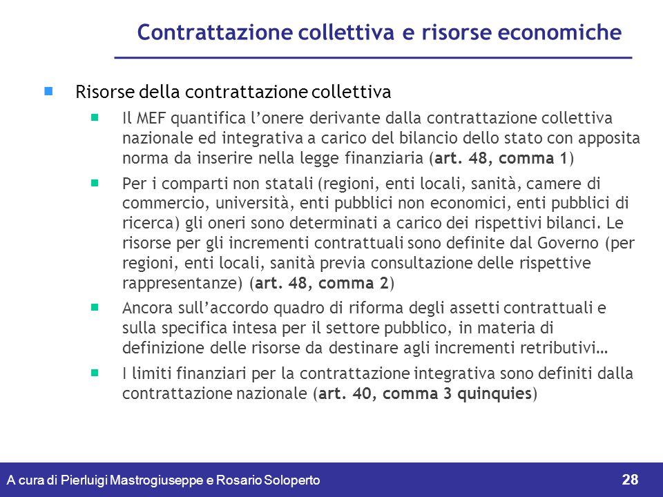 Contrattazione collettiva e risorse economiche