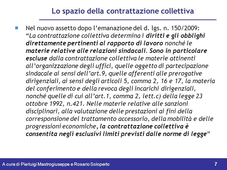 Lo spazio della contrattazione collettiva