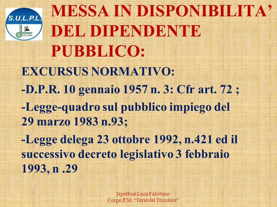 MESSA IN DISPONIBILITA' DEL DIPENDENTE PUBBLICO: