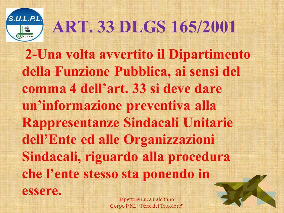 ART. 33 DLGS 165/2001