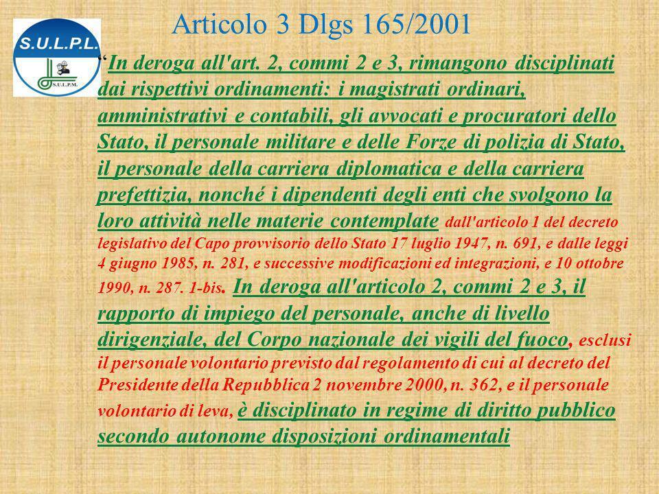 Articolo 3 Dlgs 165/2001