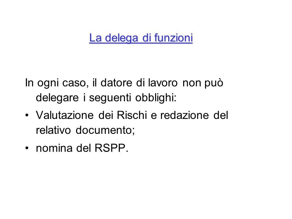 La delega di funzioni In ogni caso, il datore di lavoro non può delegare i seguenti obblighi: