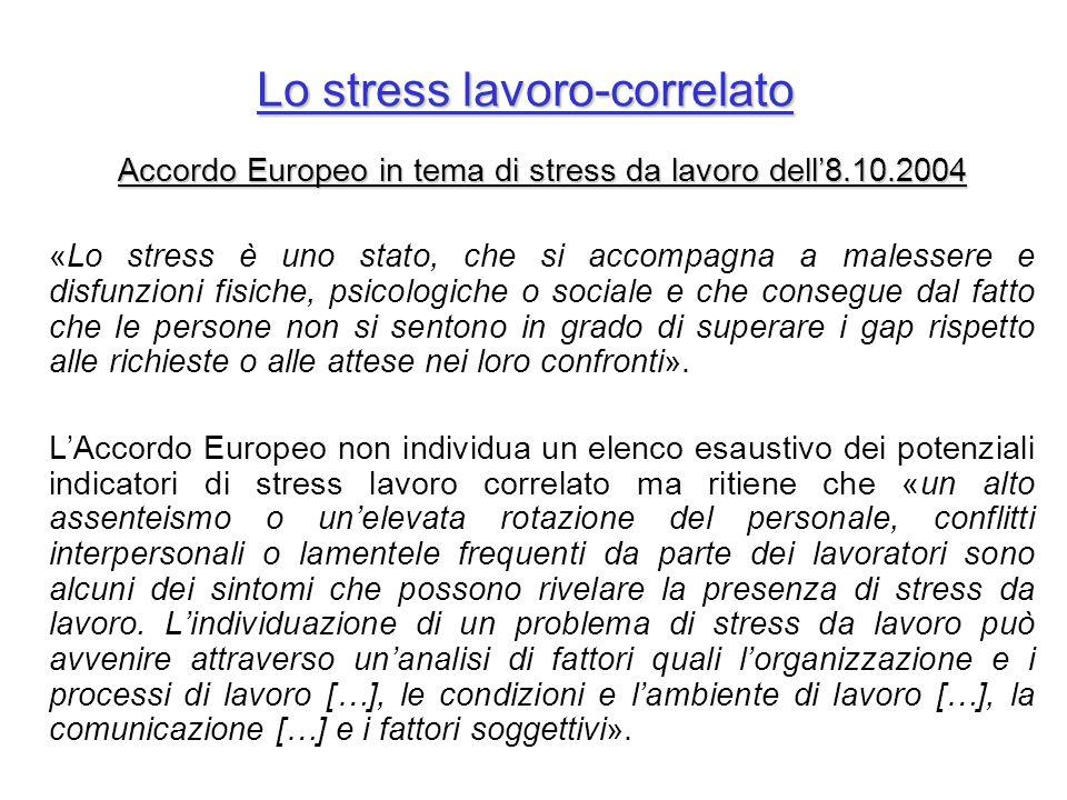 Lo stress lavoro-correlato