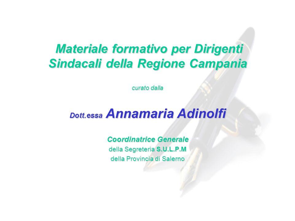 Materiale formativo per Dirigenti Sindacali della Regione Campania
