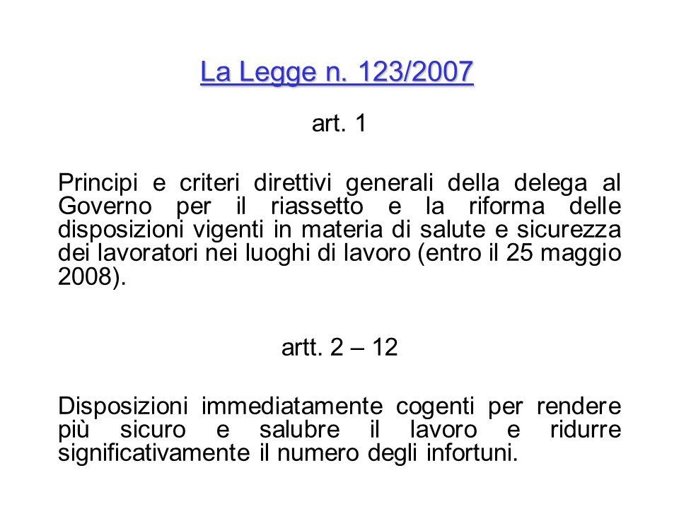 La Legge n. 123/2007 art. 1.