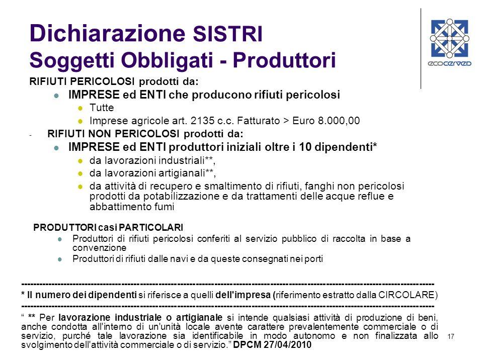 Dichiarazione SISTRI Soggetti Obbligati - Produttori