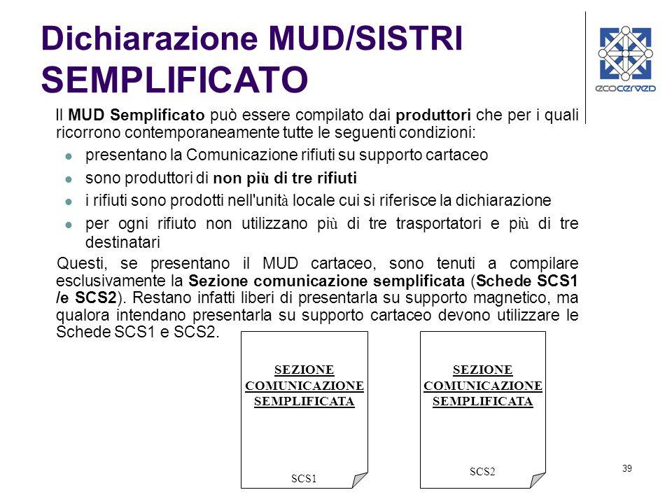 Dichiarazione MUD/SISTRI SEMPLIFICATO