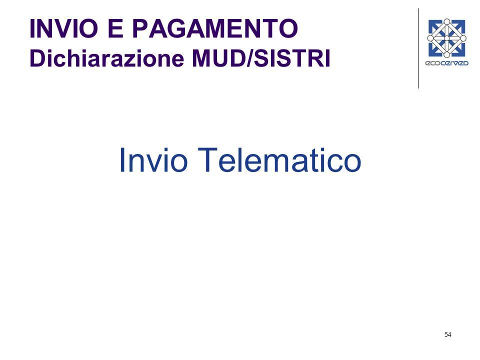 INVIO E PAGAMENTO Dichiarazione MUD/SISTRI