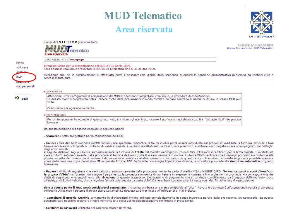 MUD Telematico Area riservata