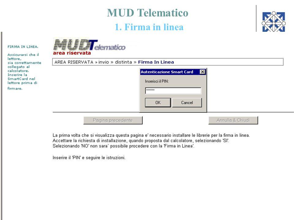 MUD Telematico 1. Firma in linea