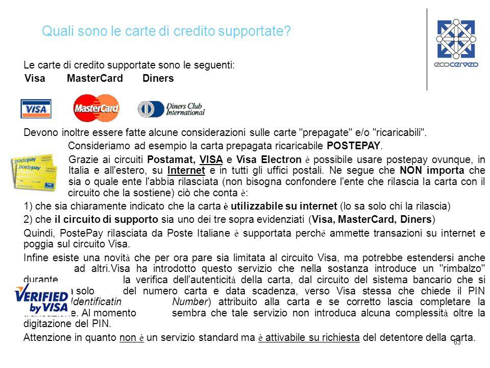 Quali sono le carte di credito supportate