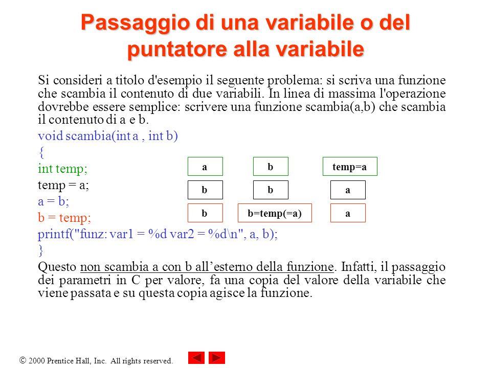 Passaggio di una variabile o del puntatore alla variabile