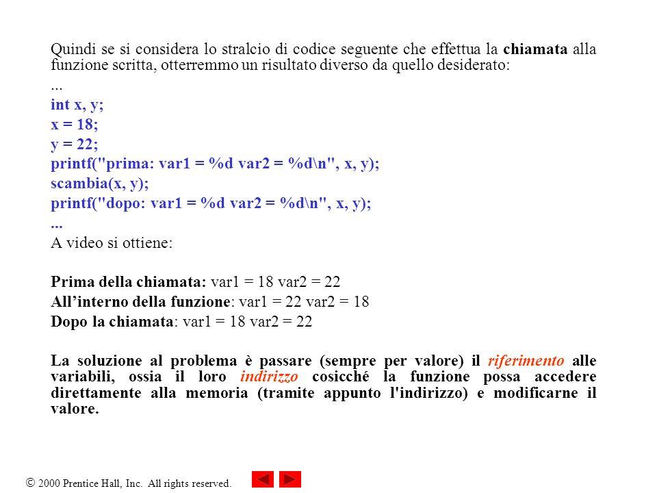 Quindi se si considera lo stralcio di codice seguente che effettua la chiamata alla funzione scritta, otterremmo un risultato diverso da quello desiderato: