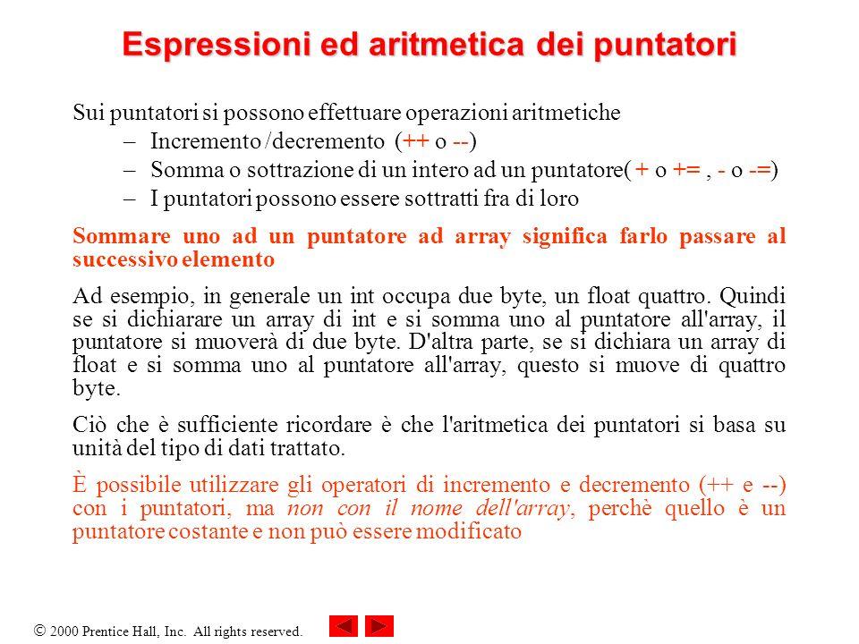 Espressioni ed aritmetica dei puntatori