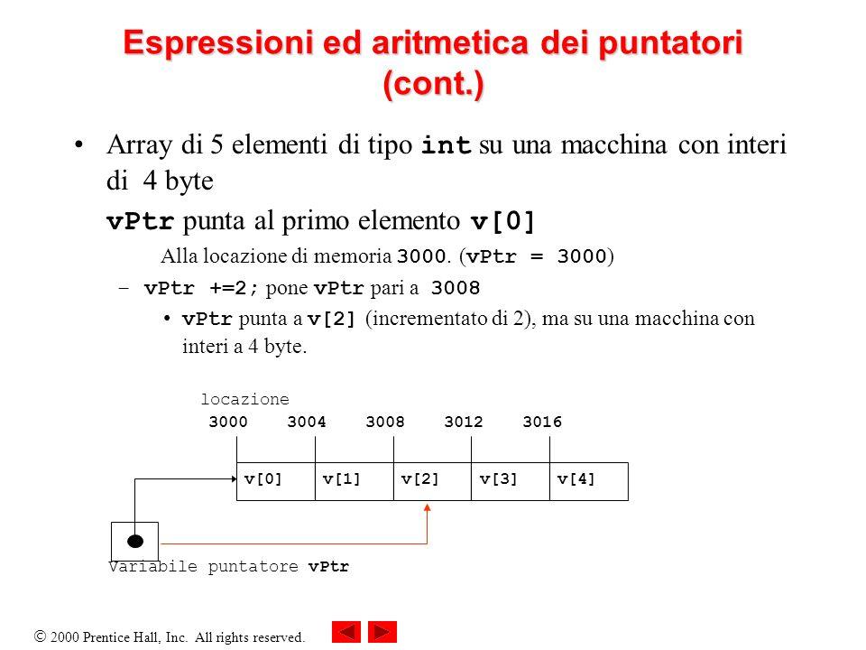 Espressioni ed aritmetica dei puntatori (cont.)