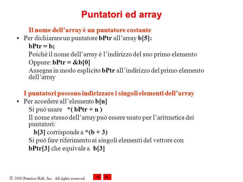 Puntatori ed array Il nome dell'array è un puntatore costante