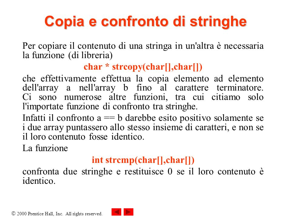 Copia e confronto di stringhe