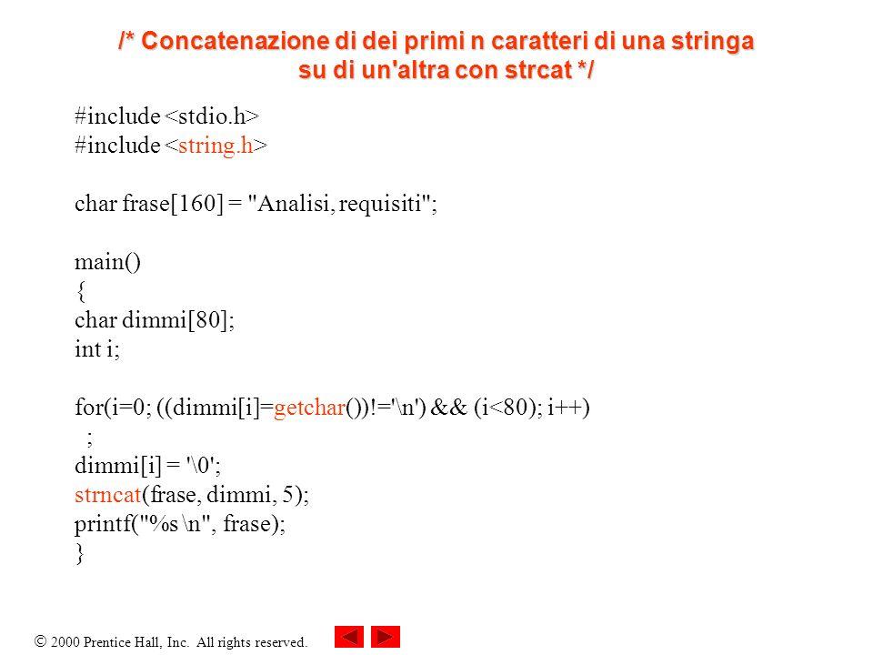 /* Concatenazione di dei primi n caratteri di una stringa su di un altra con strcat */