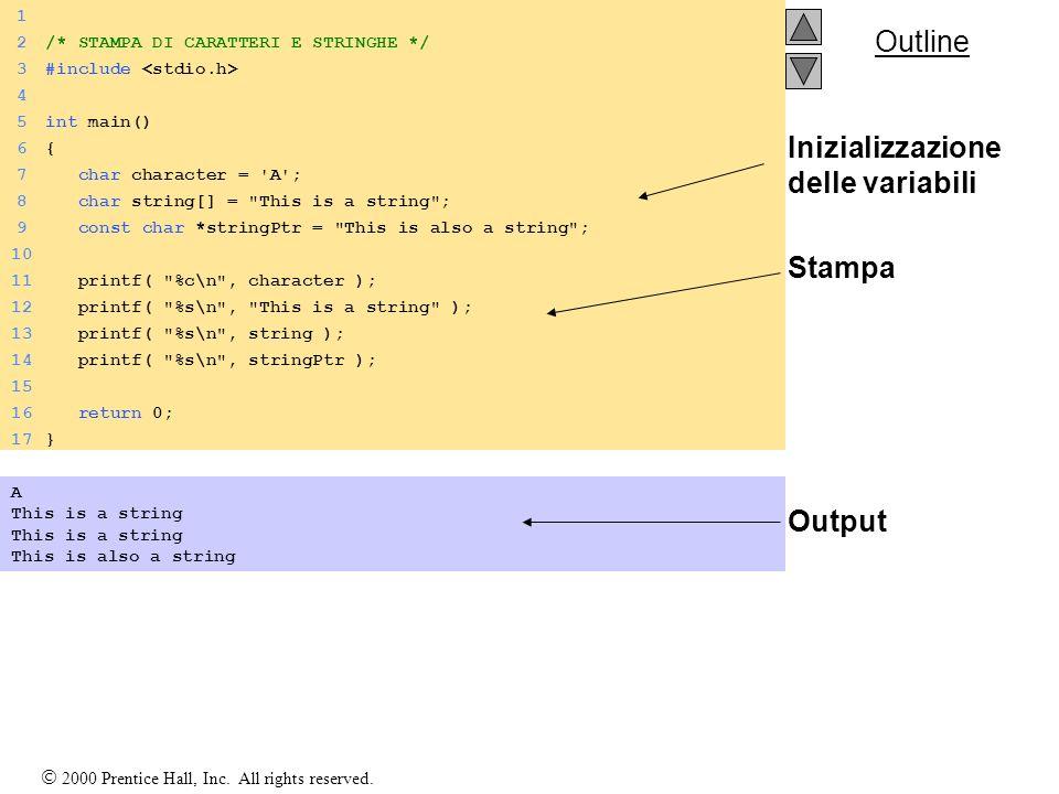 Inizializzazione delle variabili Stampa Output