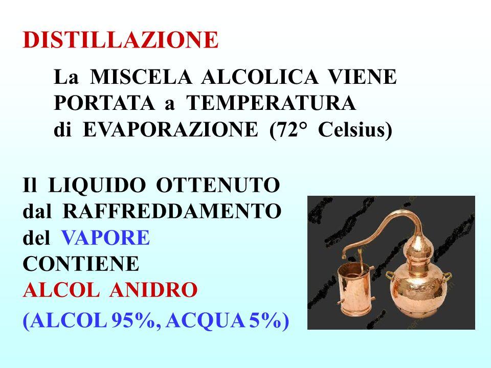 DISTILLAZIONE La MISCELA ALCOLICA VIENE PORTATA a TEMPERATURA di EVAPORAZIONE (72° Celsius)