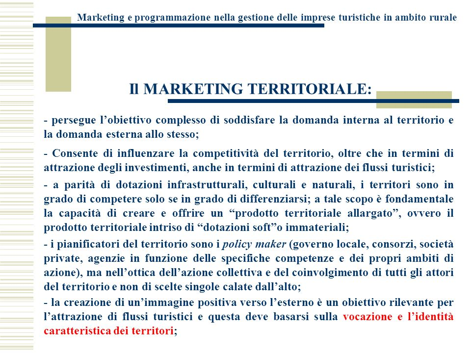 Il MARKETING TERRITORIALE: