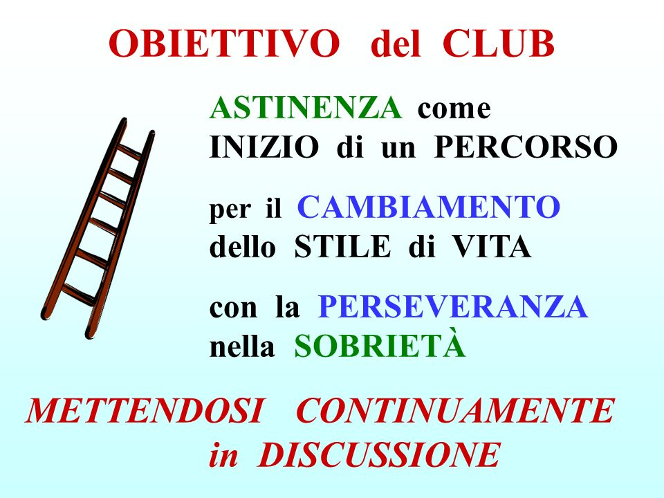 OBIETTIVO del CLUB METTENDOSI CONTINUAMENTE in DISCUSSIONE