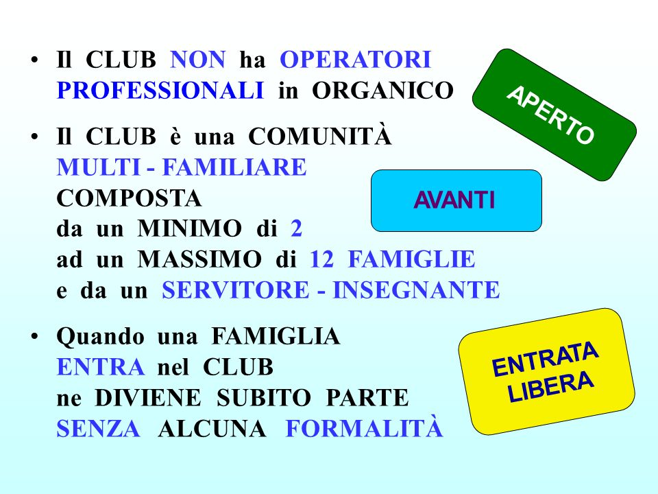Il CLUB NON ha OPERATORI PROFESSIONALI in ORGANICO