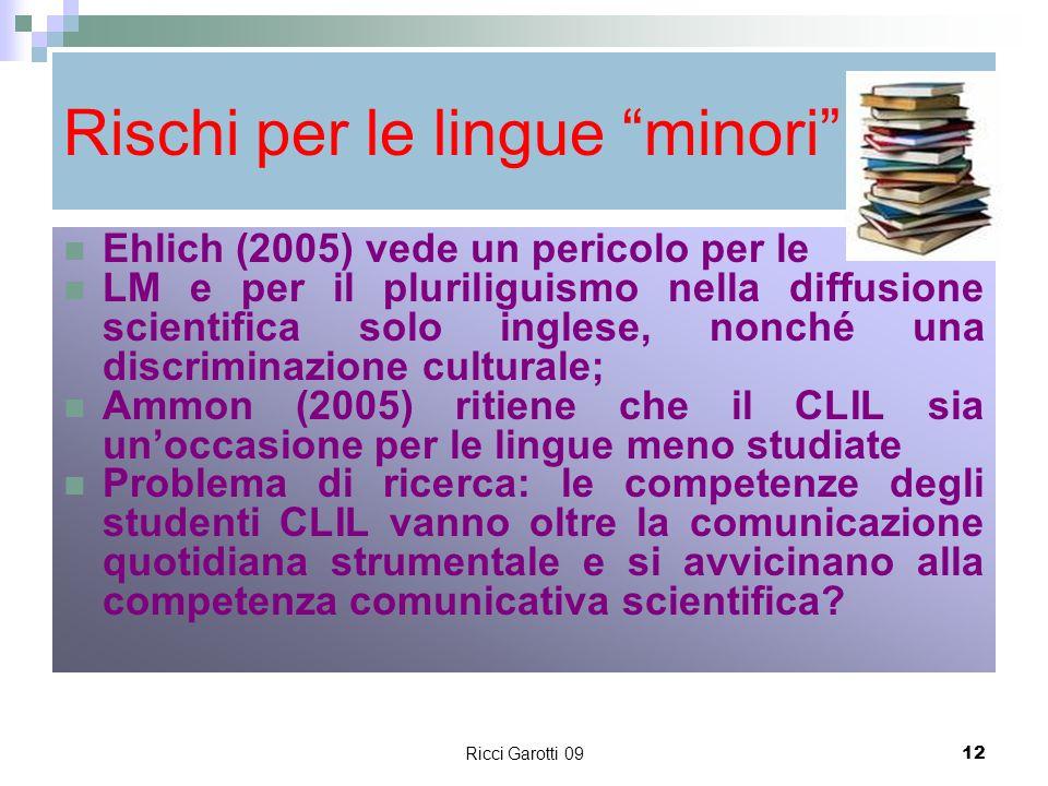 Rischi per le lingue minori