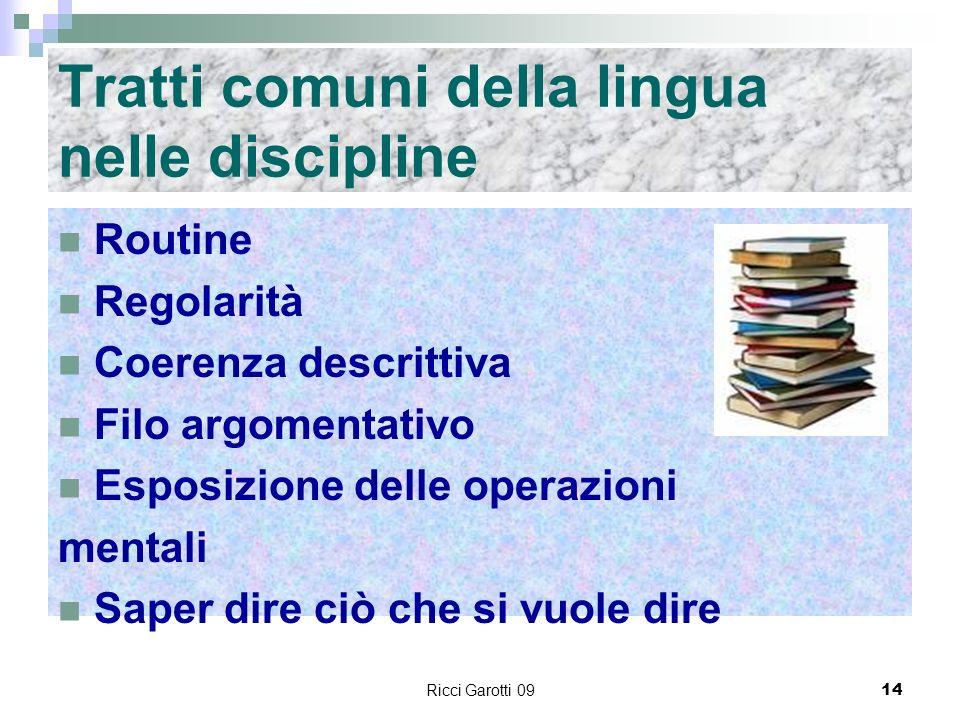 Tratti comuni della lingua nelle discipline