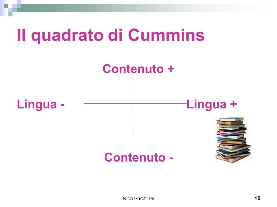 Il quadrato di Cummins Contenuto + Lingua - Lingua + Contenuto -