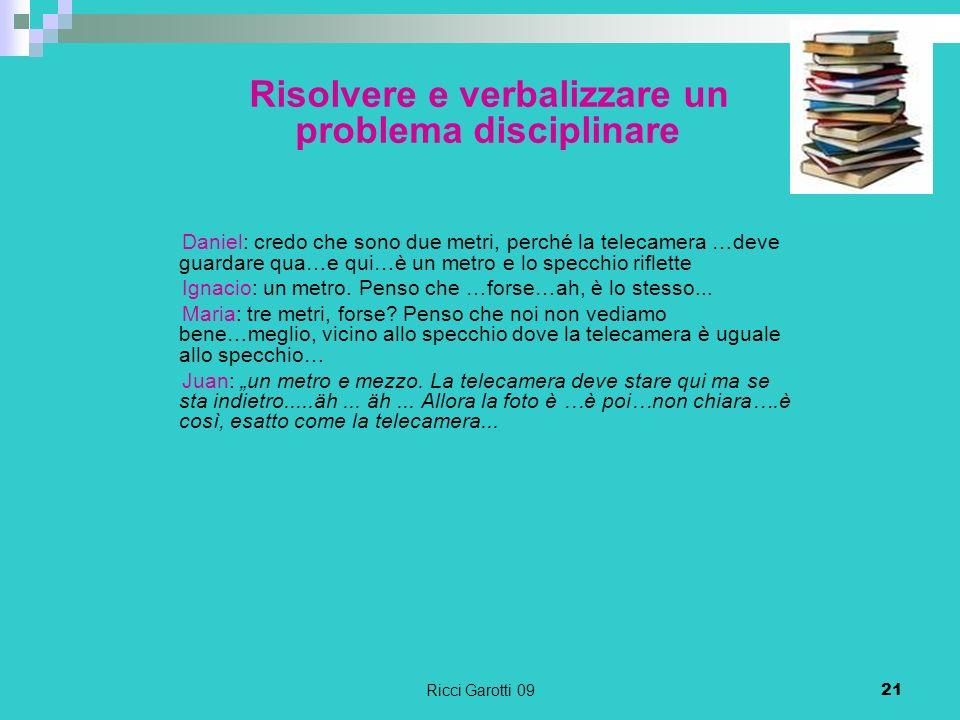 Risolvere e verbalizzare un problema disciplinare