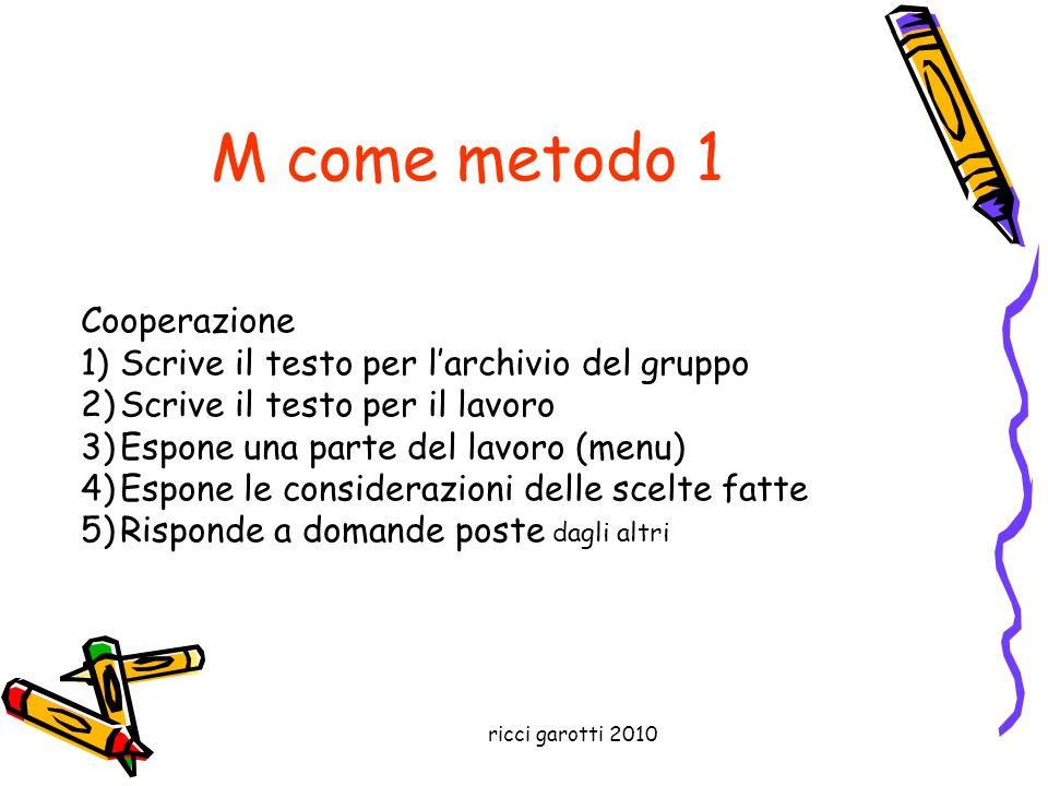 M come metodo 1 Cooperazione Scrive il testo per l'archivio del gruppo