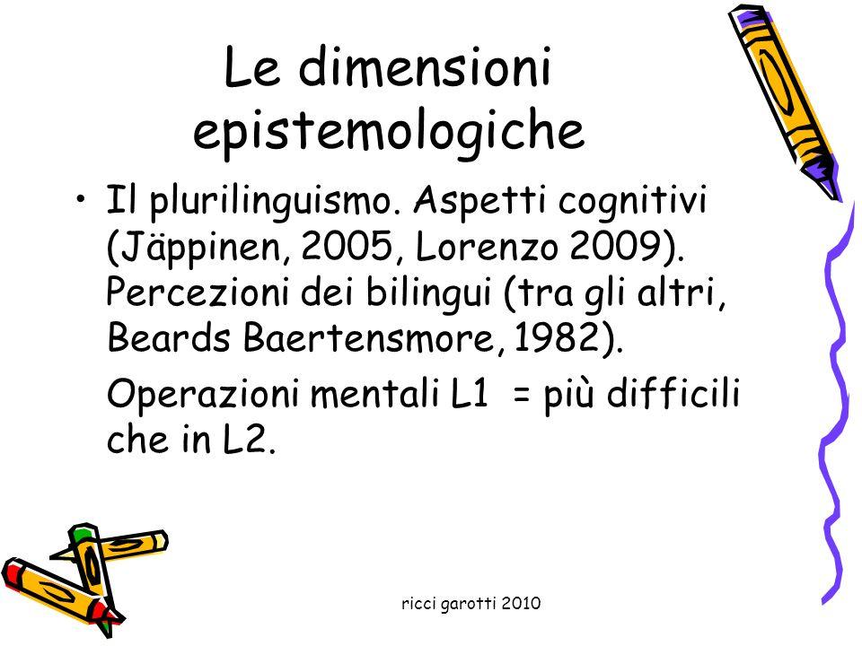 Le dimensioni epistemologiche