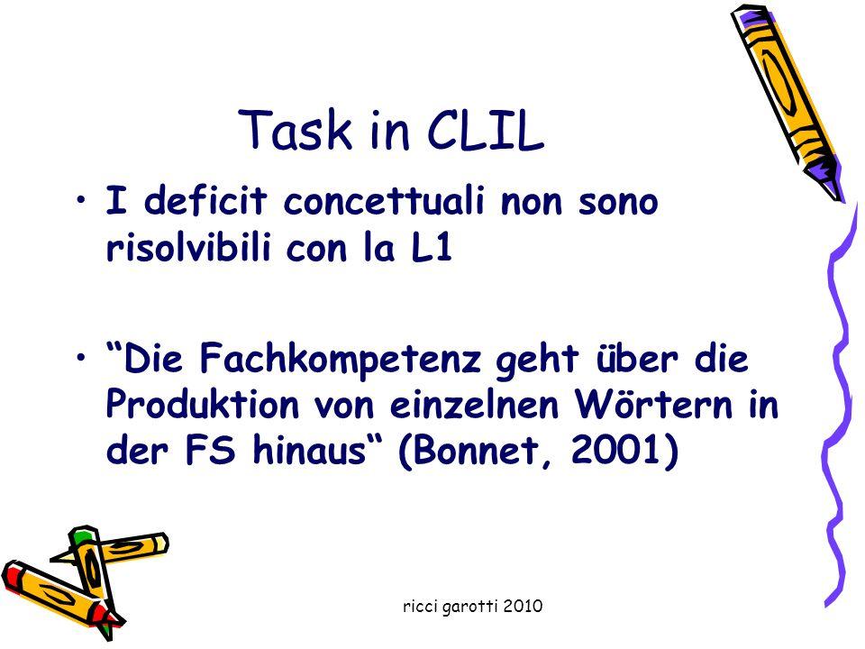 Task in CLIL I deficit concettuali non sono risolvibili con la L1