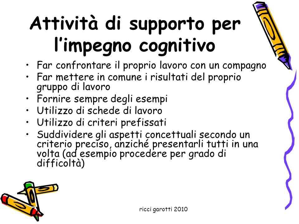 Attività di supporto per l'impegno cognitivo