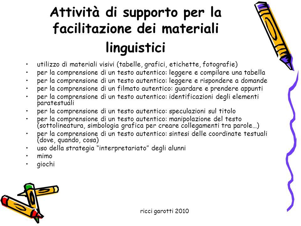 Attività di supporto per la facilitazione dei materiali linguistici
