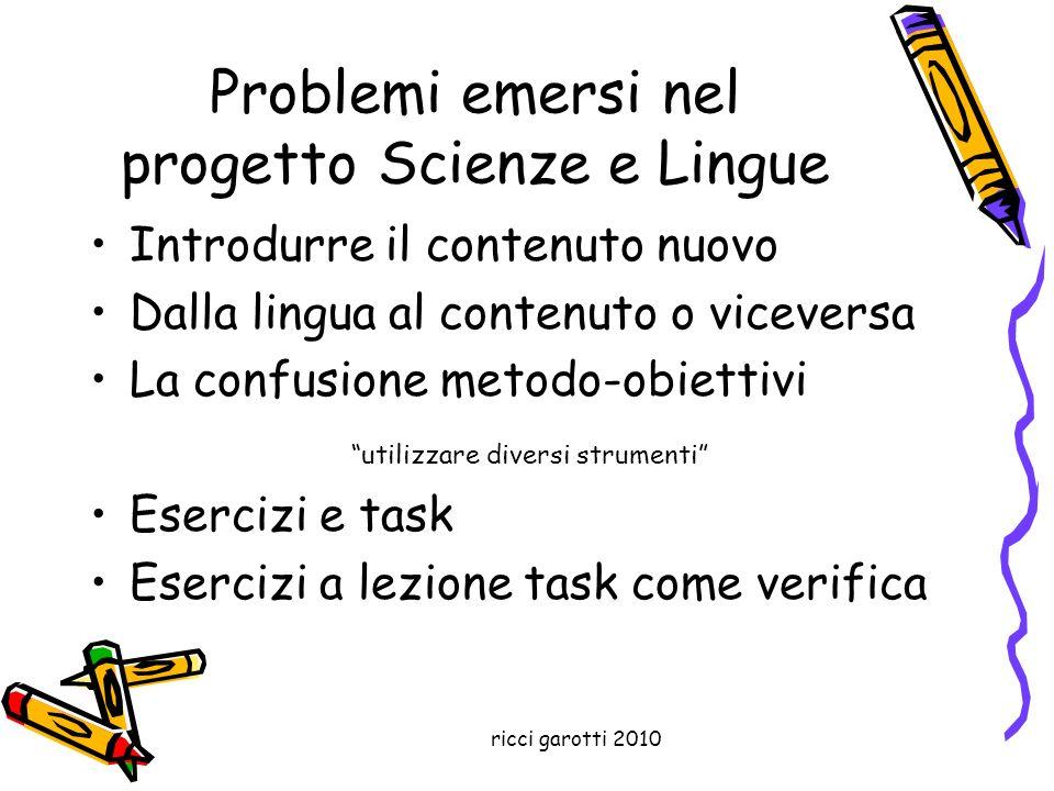Problemi emersi nel progetto Scienze e Lingue