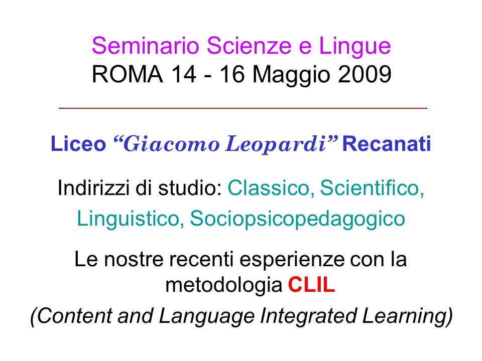 Seminario Scienze e Lingue ROMA 14 - 16 Maggio 2009