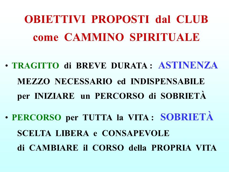 OBIETTIVI PROPOSTI dal CLUB come CAMMINO SPIRITUALE