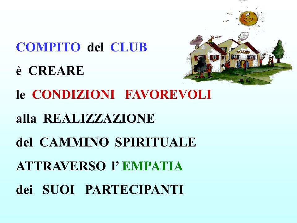 COMPITO del CLUB è CREARE le CONDIZIONI FAVOREVOLI alla REALIZZAZIONE del CAMMINO SPIRITUALE ATTRAVERSO l' EMPATIA dei SUOI PARTECIPANTI
