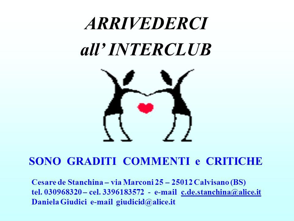 ARRIVEDERCI all' INTERCLUB SONO GRADITI COMMENTI e CRITICHE