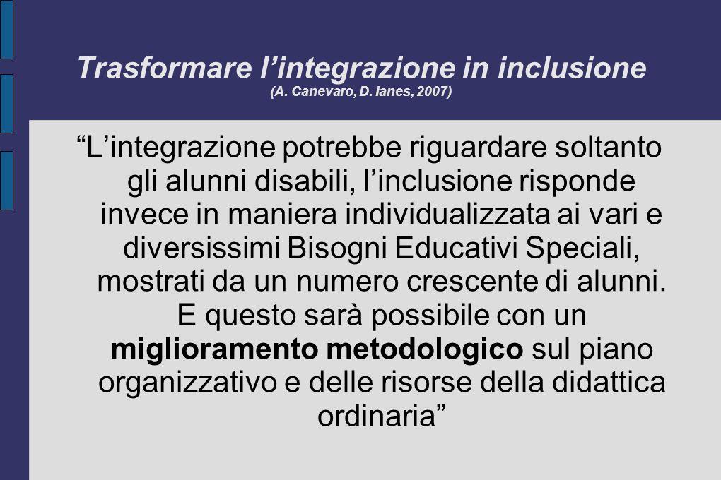 Trasformare l'integrazione in inclusione (A. Canevaro, D. Ianes, 2007)