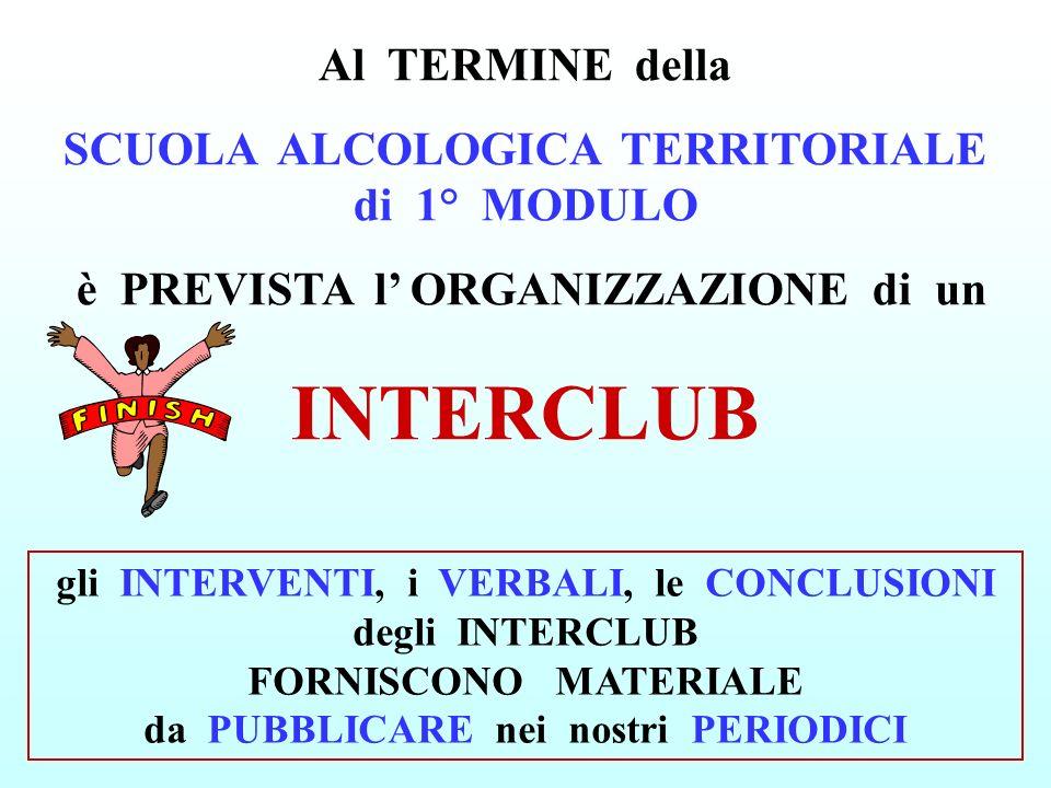 INTERCLUB Al TERMINE della SCUOLA ALCOLOGICA TERRITORIALE di 1° MODULO