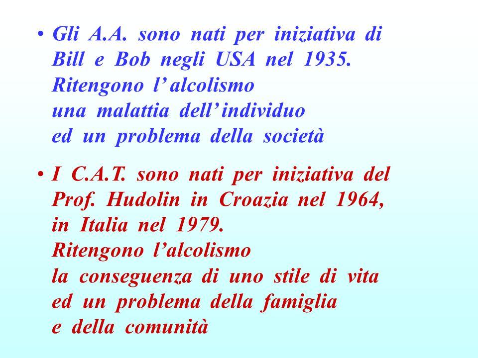 Gli A. A. sono nati per iniziativa di Bill e Bob negli USA nel 1935